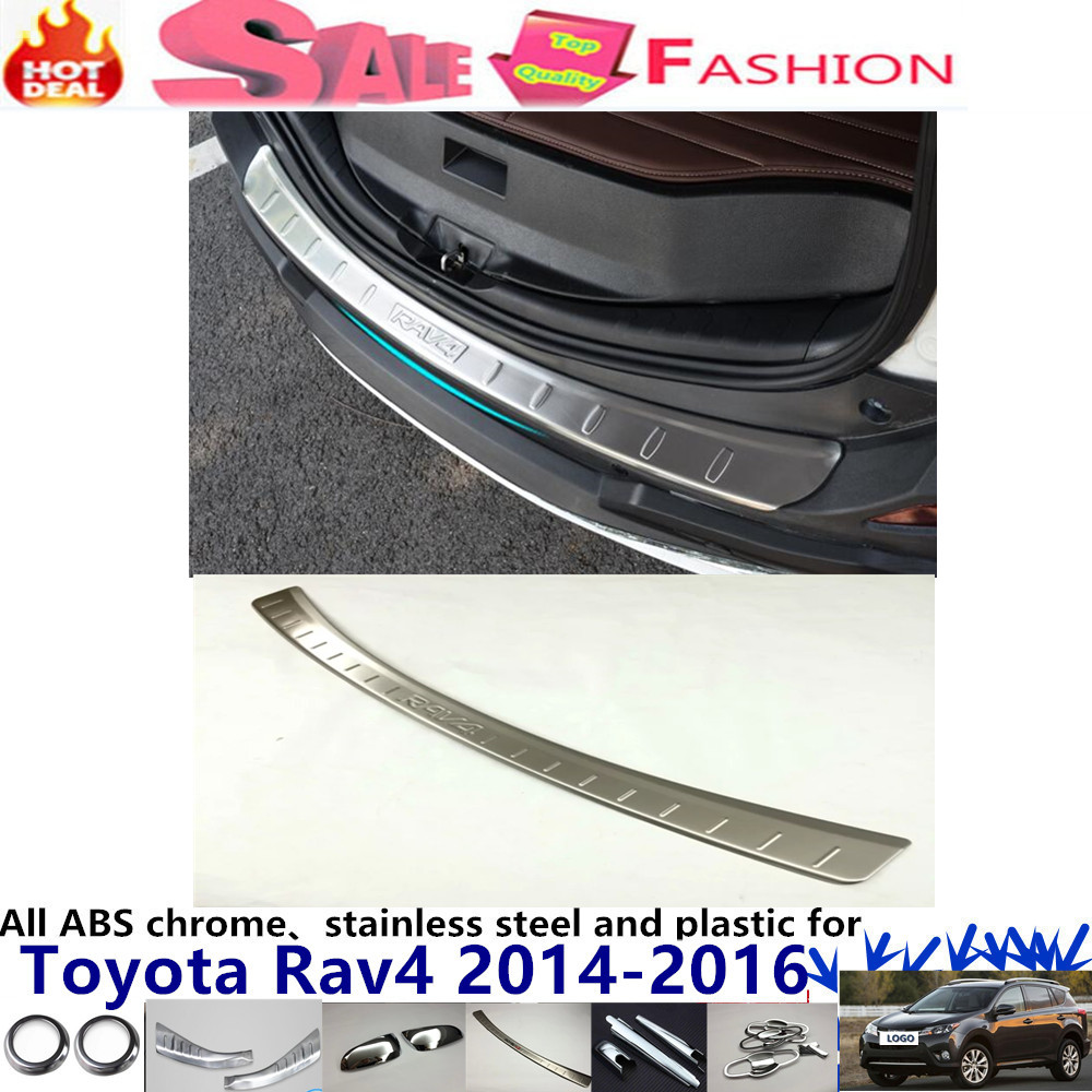 Top High Quality Car external Rear Bumper trim Stainless Steel Scuff Sill trunk plate pedal 1pcs For Toy0ta RAV4 2014 2015 2016 car rear trunk security shield cargo cover for volkswagen vw tiguan 2016 2017 2018 high qualit black beige auto accessories