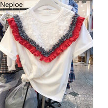 Neploe Lace Fungus Patchwork Women T Shirts New O-Neck Short Sleeve Tees Korean Loose Cotton Ladies Tops 43776(China)