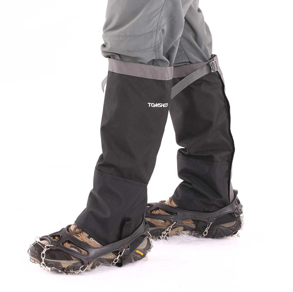TOMSHOO 1 пара 19 зубов кошки Нескользящие Обувь крышка Нескользящие Ice бутсы обуви загрузки Ручки рулевые для мотоциклов тяги снег + зимние гетры