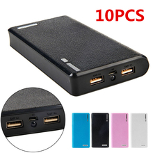 10Pcs Dual USB Power Bank 6x 18650 External Backup Battery Charger Box Case For Phone Wholesale