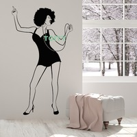 Afro Vinyl Wall Decal African Hairstyle Woman Music Headphones Girl Stickers Home Room Interior Decor Art Mural H101cm x W57cm