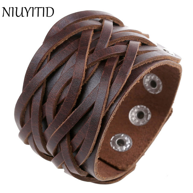 ec073417c0b499 NIUYITID Vintage Punk Wide Genuine Leather Bracelets For Men Women Brown  Personalized Hand Jewelry For Male