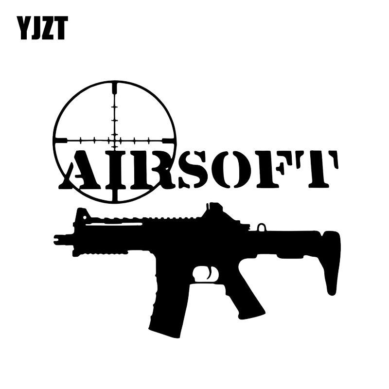 YJZT 13.4*12CM Coolest AIRSOFT Gun Decoration Car Sticker Vinyl High Quality Motorcycle Accessories C12-0273