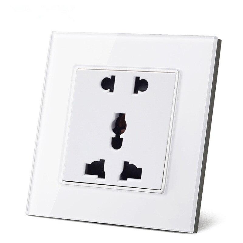 Freies Verschiffen Netzsteckdose Neue Steckdose EU/UK/US Standard Weiß Kristallglas-verkleidung AC110 ~ 250 V 16A Steckdose