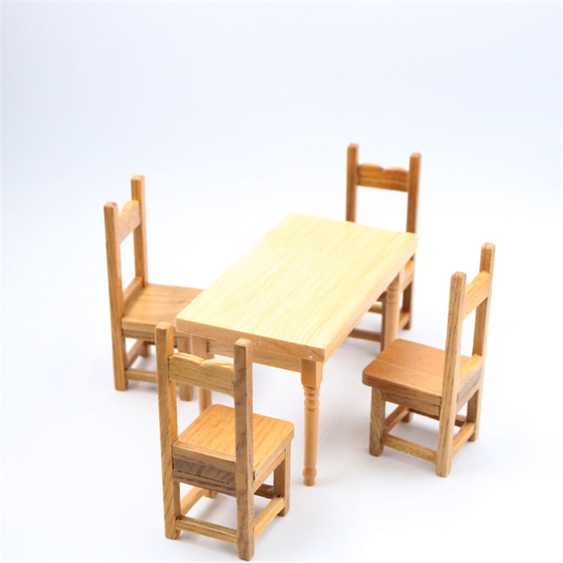 Doub K 1:12 dollhouse furniture toy miniature pretend play classic toys wooden chair table sets for girls children kids dolls