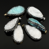 Natural Agate Druzy Pendant Ice Quartz Agate Rhinestone Clay Pave Abalone Shell Druzy Mixed 5PCs Lot