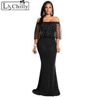 La Chilly 2018 Summer Maxi Dresses Pearl Mesh Flounce Black Mermaid Party Off Shoulder Dress Vestido Largo Verano Mujer LC610297