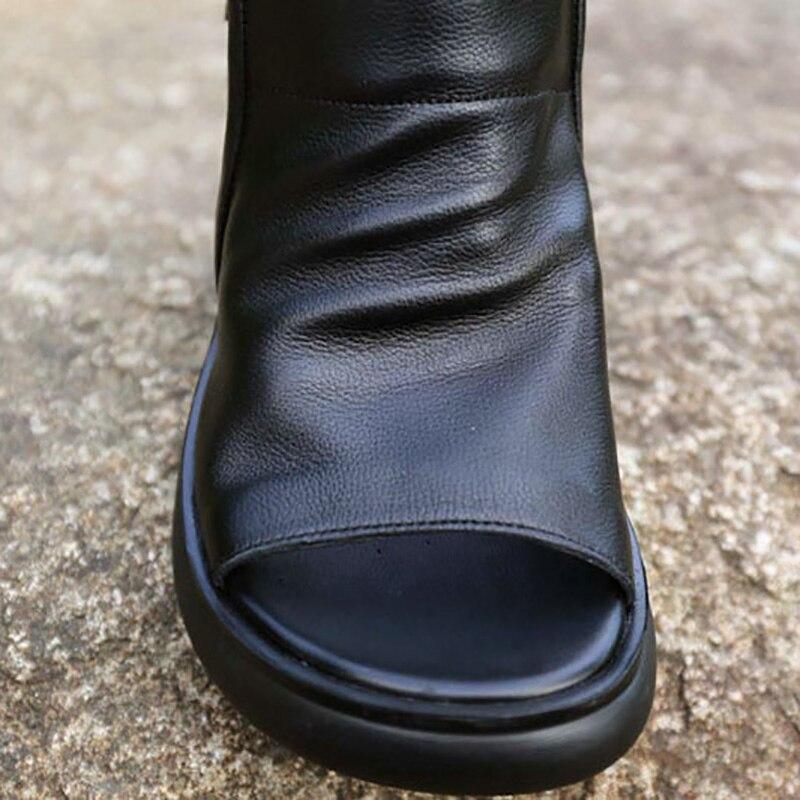 Britannico estate focaccina suola pattini, in pelle di alta tacco alto scarpe casual, vintage strappy sandali delle donne, pelle bovina di trascinamento-in Scarpe col tacco medio da Scarpe su  Gruppo 2