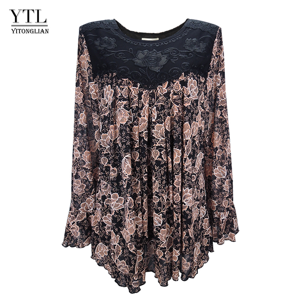 YTL Women Autumn Winter Plus Size Elegant Vintage Floral Loose Tunic Top Flare Sleeve Oversize   Blouse     Shirts   6XL 7XL 8XL H036