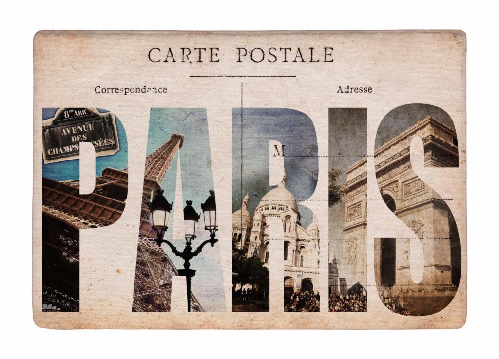 Floor Mat Retro Paris City Style Carte Postale Print
