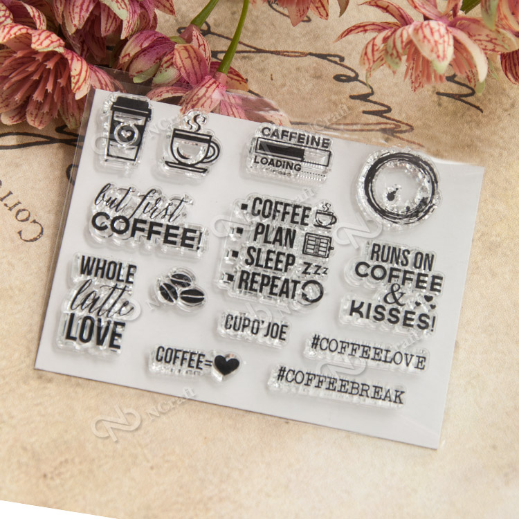 Coffee Time Transparent Finished Rubber Stamp DIY Scrapbook Album cards PDA Seal seal YJ60032 diy scrapbook albums balloon rubber stamp scrapbook album pda cake dog seal transparent retro girl seal ball animal clear stamps
