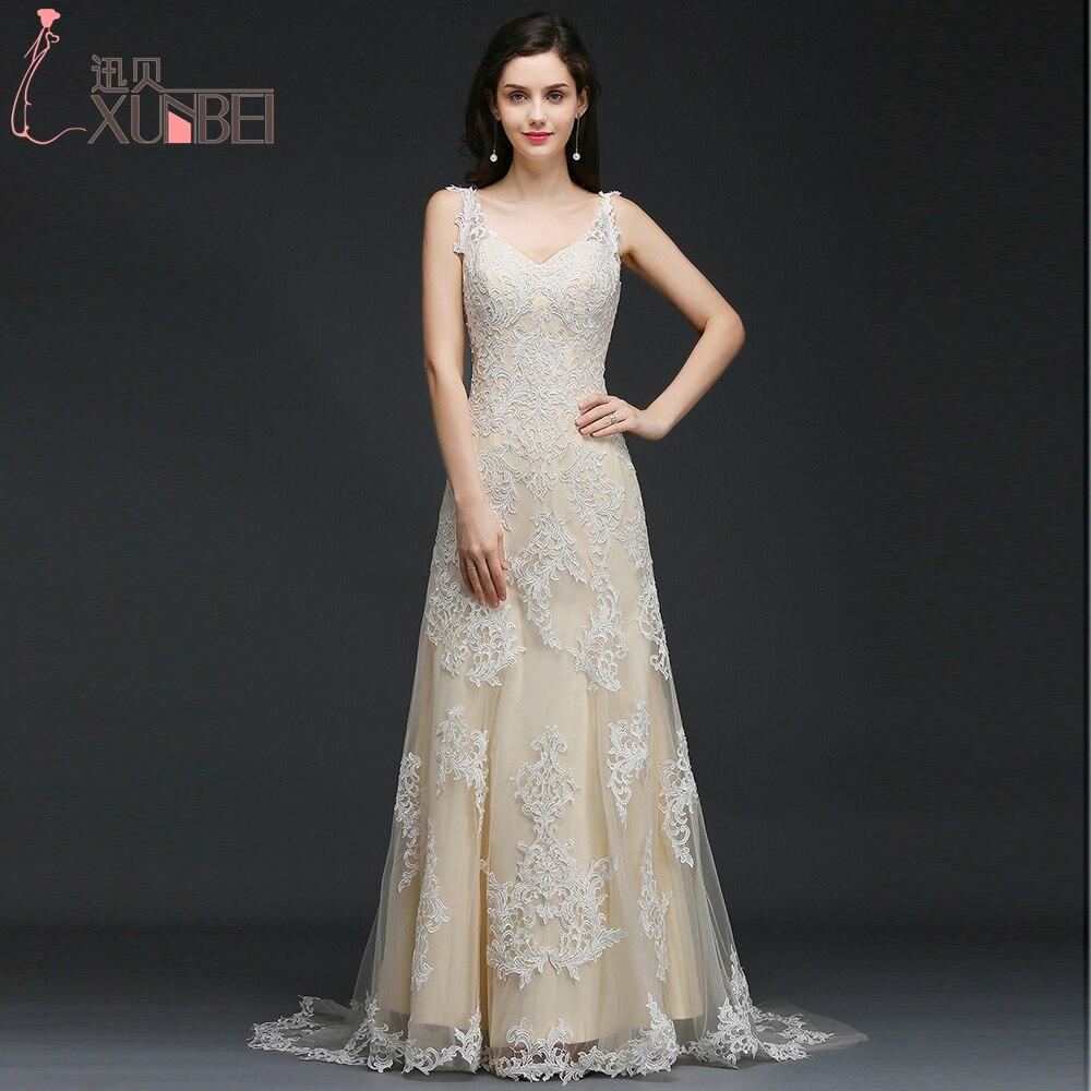 Champagne Color Wedding Dresses Vestidos De Noiva 2017: Light Champagne V Neck Lace A Line Wedding Dresses 2017