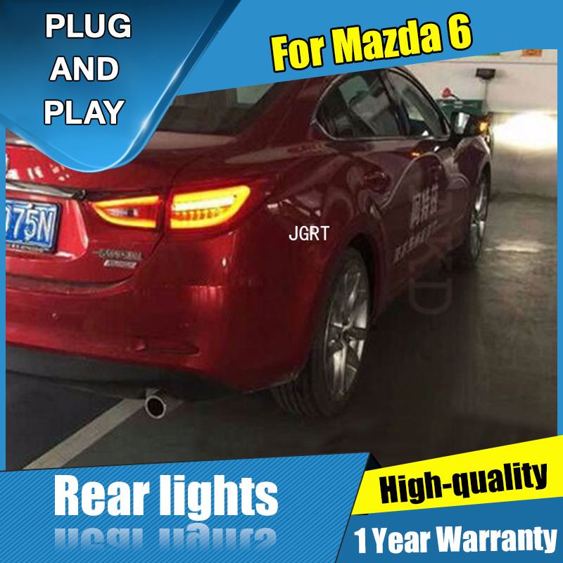 Car Styling for <font><b>Mazda</b></font> <font><b>6</b></font> Taillight assembly 2014-2015 New <font><b>Mazda</b></font> <font><b>6</b></font> <font><b>LED</b></font> <font><b>Tail</b></font> <font><b>Light</b></font> <font><b>LED</b></font> Rear Lamp DRL+Brake with hid kit 2pcs. image