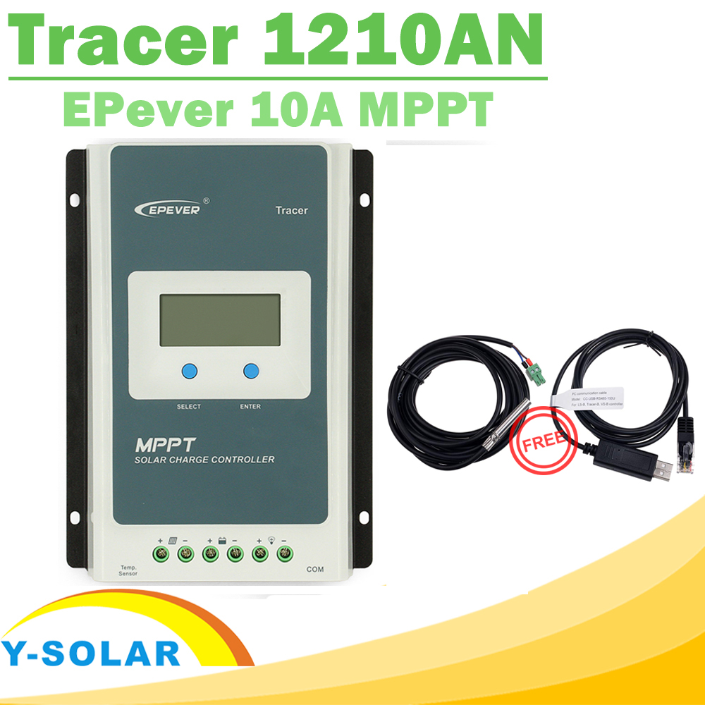 Контроллер солнечной батареи EPsolar MPPT 1210AN, регулятор заряда аккумуляторной батареи 10 А 12 В 24 В с ЖК-дисплеем и двумя бесплатными кабелями