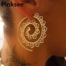 1 Pair Ornate Swirl Hoop Gypsy Indian Tribal Ethnic Earrings Gear Spiral Geometric Boho for Women Jewelry Brincos