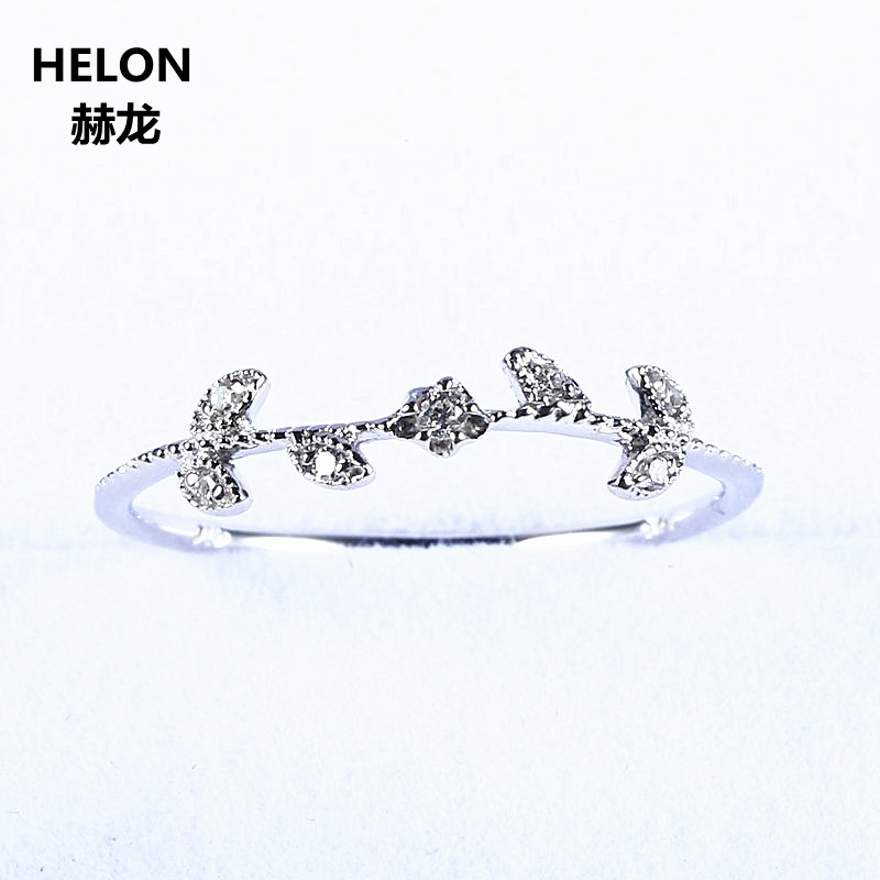Natural Diamonds Wedding Band Solid 10k White Gold Engagement Women Ring Girl Fine Jewelry Art Deco