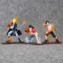 3pcs/lot One Piece Sabo Monkey D Luffy Portgas D Ace PVC Figure Action Toys Collection Model Doll Gifts 9-13.5cm
