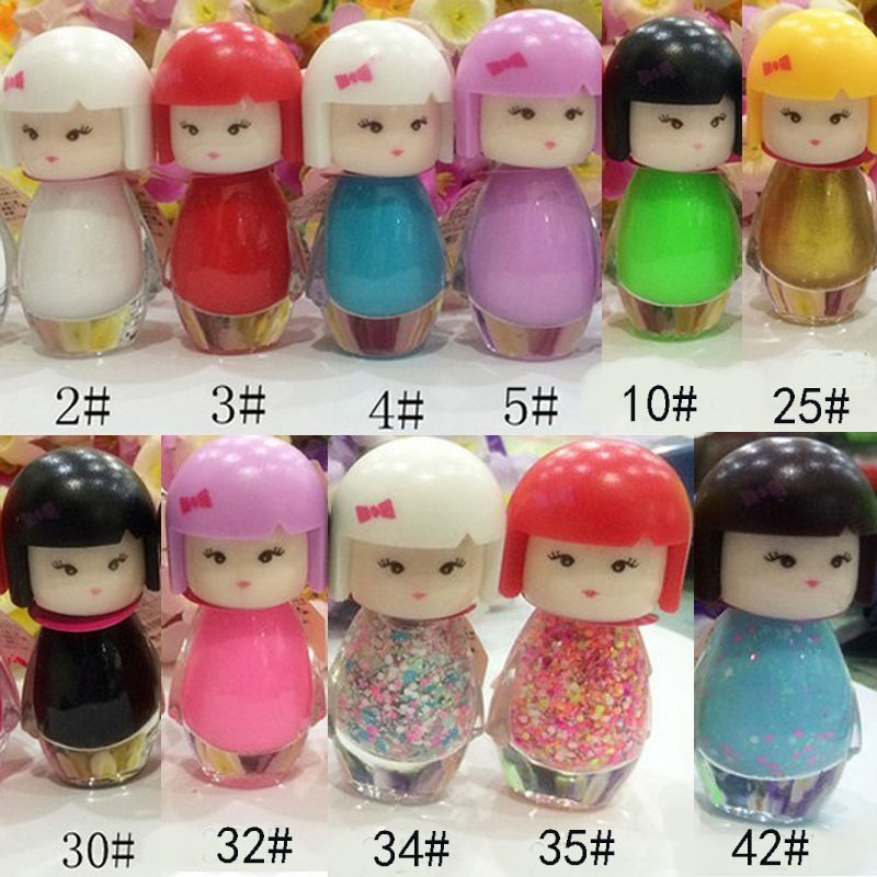 New Cute Lovely Baby Doll Design Bright Glitter Colors 2 bottle Nail ...