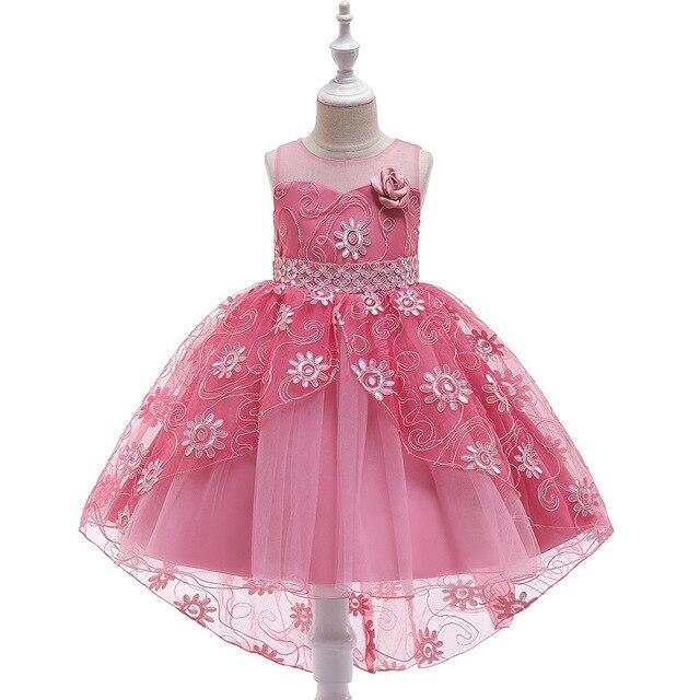 חדש קיץ קדמי ארוך חזרה קצר תחרות שמלות לנערות טול פרח ילדה שמלות כדור שמלות שמלת ערב המפלגה