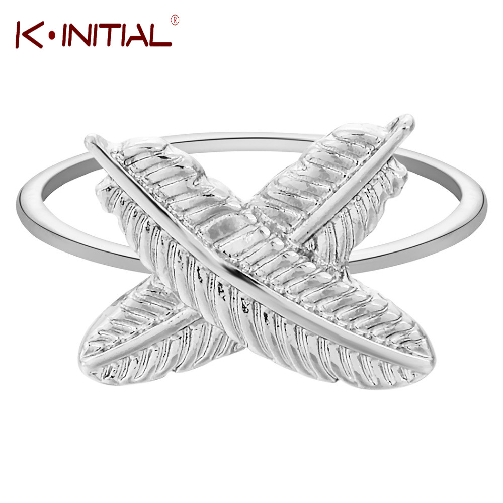 Kinitial 1Pcs Gold Silver Plated Feather Ring Leaf Cross Rings for Women Teen Girls Birthday Anniversary Valentines Finger Gift