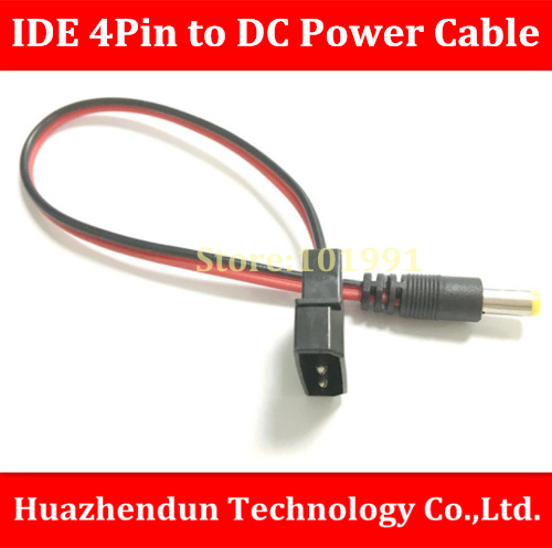 2PCS/LOT   Free Shipping  IDE 4Pin Male Molex Connector to DC 5.5*2.5mm Male Connector  Power Cable   28CM   18AWG freeshipping 2 pcs lot 4 pin male