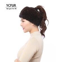YCFUR Женская повязка на голову зимняя эластичная вязаная натуральная шарфы из норки для женщин шейный шарф женский