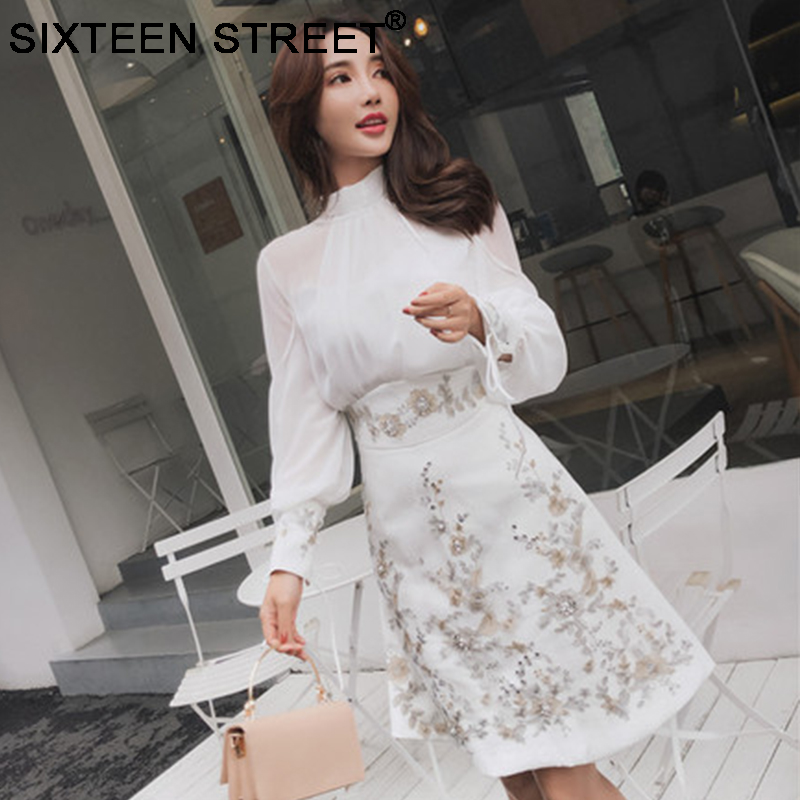 2019 Tops And Diamond Embroidery Skirt Woman 2 Piece Set Long Sleeve Loose Bow Top And White Shirt Skirt Elegant Suit New Spring