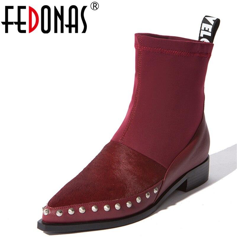 FEDONAS 1 mode femmes bottines cheval cheveux automne hiver chaud carré talons chaussures femme bout pointu Punk Rivet dames bottes