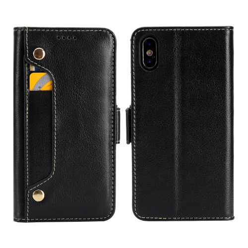 100 pièces Véritable Cuir De Vachette Portefeuille porte-carte d'identité coques de téléphone pour Apple iphone 6 6 S Plus 7plus 8plus X XS