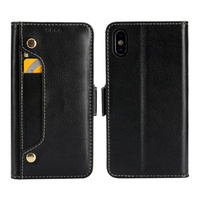100pcs Genuine Leather Cowhide Wallet ID Card Holder phone cases cover for Apple iphone 6 6S Plus 7 Plus 8 Plus X XS