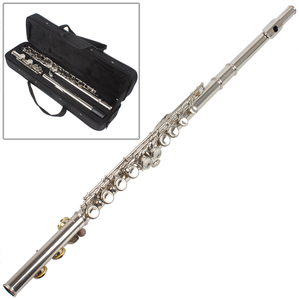 Tone C LADE Silver Plated 16 Closed Holes CKey Flute with Case / Cloth / Screwdriver