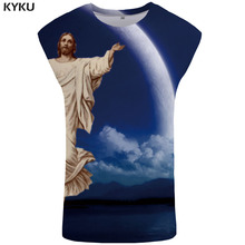 KYKU Jesus Tank Top Men Moon Vest Space Ftness Clothing Mountain Mens Bodybuilding Cloud Undershirt Sleeveless Shirt muscle