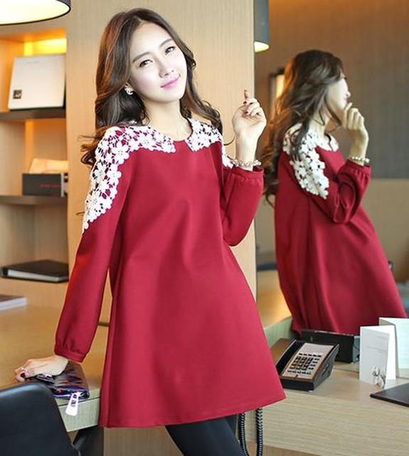 Autumn Winter Maternity Dresses Long Sleeves Casual Pregnancy Dresses Woman  Maternity Dresses Clothes For Pregnant Women 2b9ec28e1e36