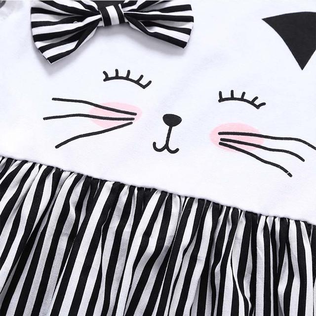 Fashion Baby Girl Cat Printed Stripes Princess Dress