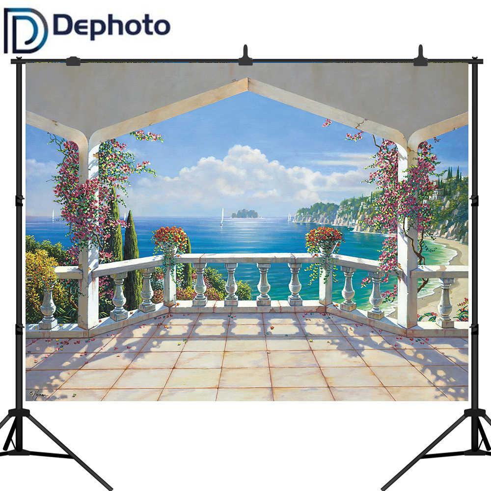 Фото фон для фотостудии балкон дворец море Парусник Дерево цветок Природа