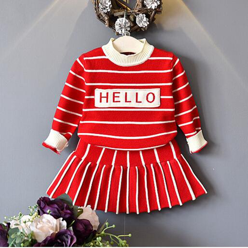 NEAT Long Sleeve Girl Set winter baby girl clothes 2-7 year old children knitted sweater Striped letters children clothing X8801 t100 children sweater winter wool girl child cartoon thick knitted girls cardigan warm sweater long sleeve toddler cardigan