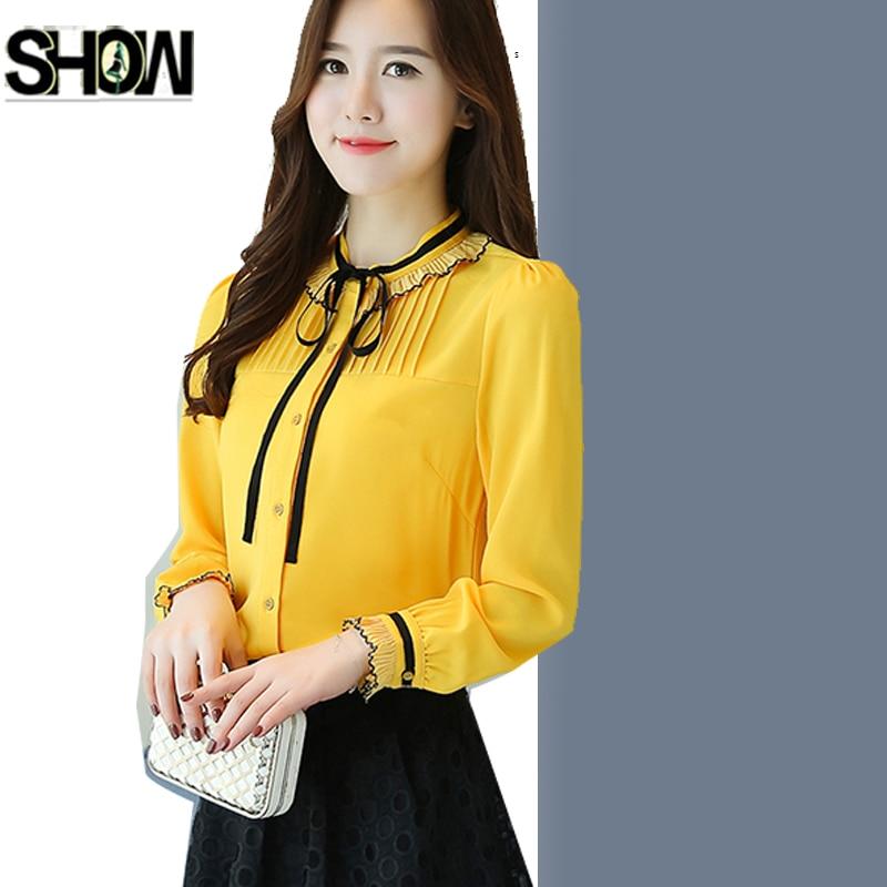 Office Wear Women Yellow Black Chiffon Blouses Shirts Lady Girls Casual O-Neck Long Sleeve Button Shirt Blusas Cute Bow Tie Tops knitting