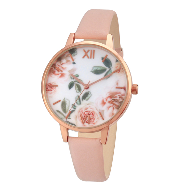 rose gold case lady watch for girls watches rose flower dial pink strap fashion