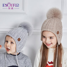 4367ac2a4381c3 ENJOYFUR Ages 2-8 baby hat Children Winter Hats For Girls&Boy Cotton Thick  Warm Knitted Ears Beanie Fox Fur Pompom Cap