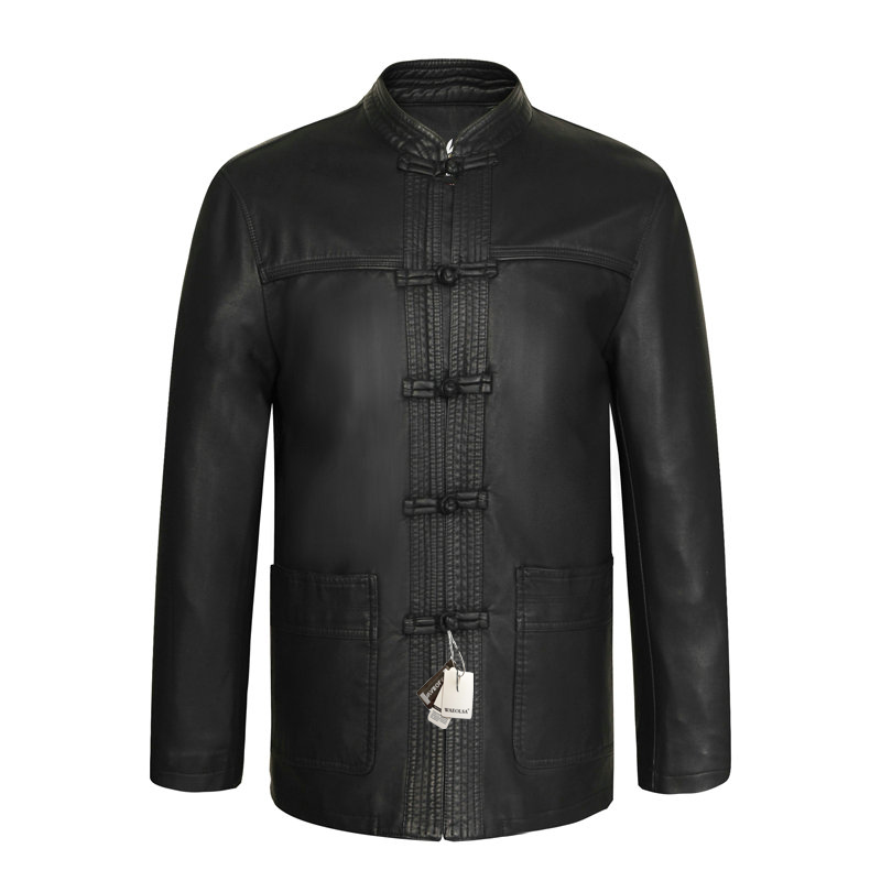 Chinese Vintage Style Mens Black Ethnic Tang Suit Soft Leather Jackets With Stand Mandarin Collar Fur Overcoats For Man Coats XL 2XL 3XL 4XL (6)