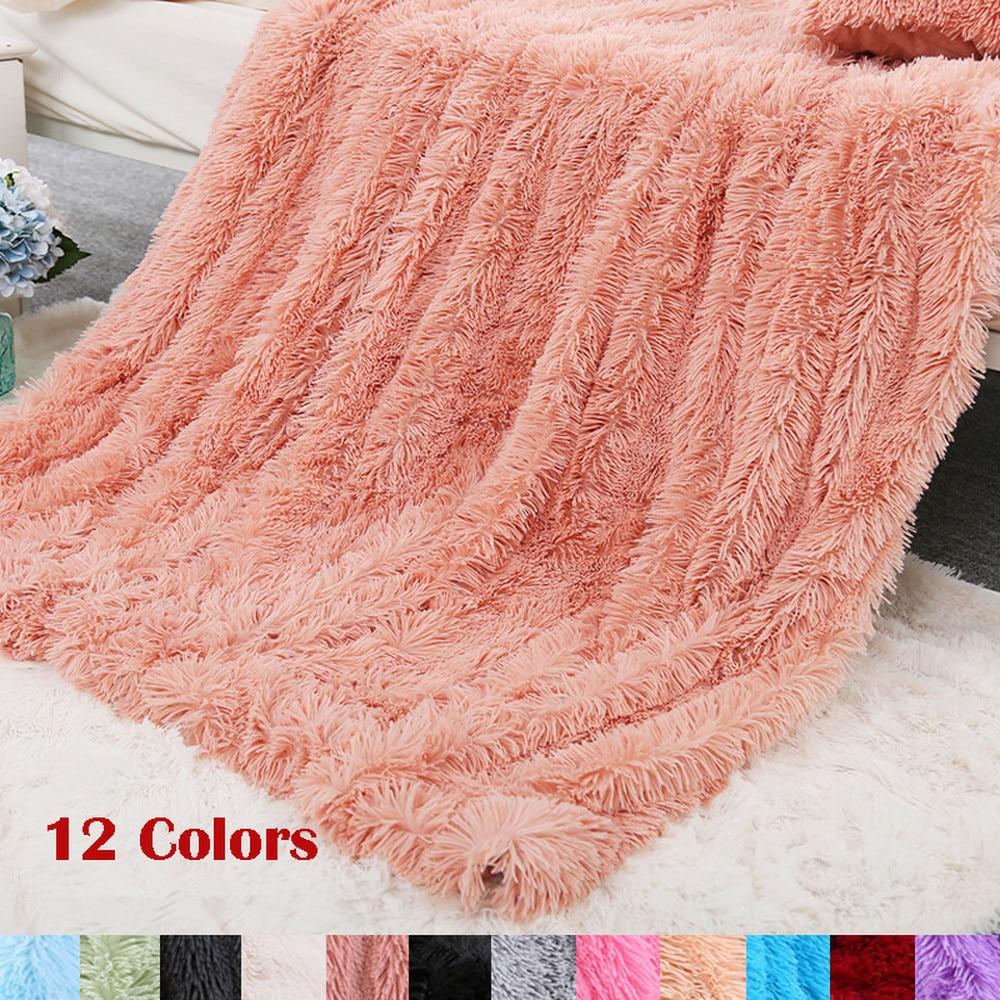 12 couleurs Super doux Shaggy fausse fourrure couverture luxueux confortable chaud Ultra moelleux peluche décorative couverture 160x200cm