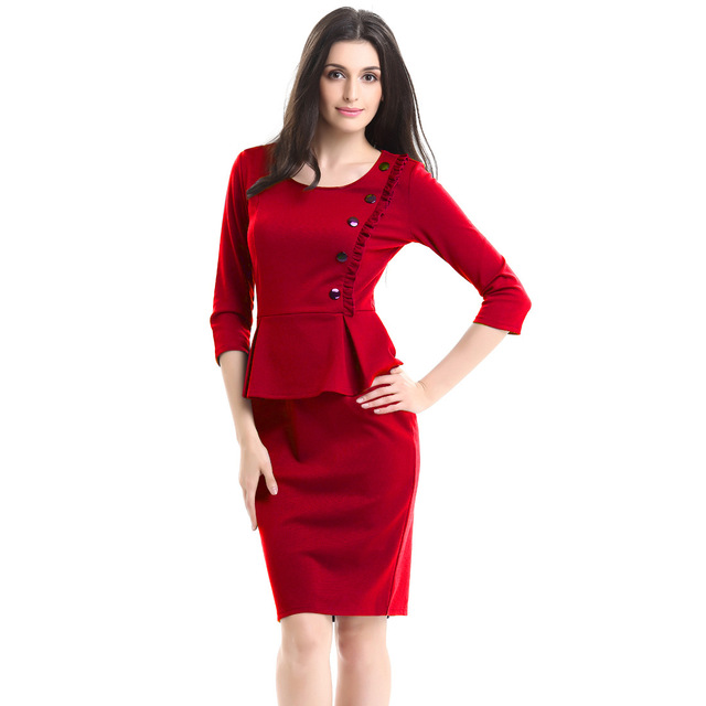 Plus Size Dresses Summer Women Office Gowns Business Pencil Bodycon ...