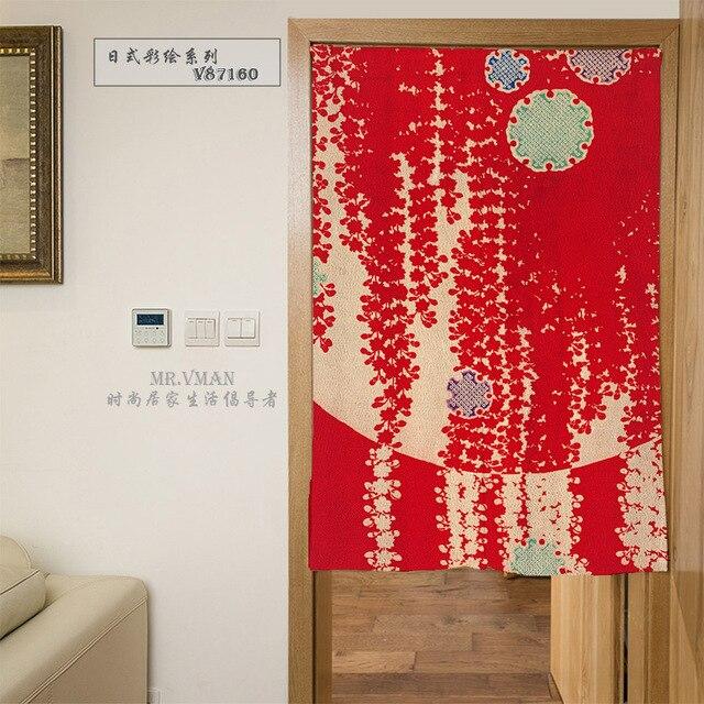 Nice Rideaux Japon Style Couleur Dessin Fleurs Motif Rouge Porte