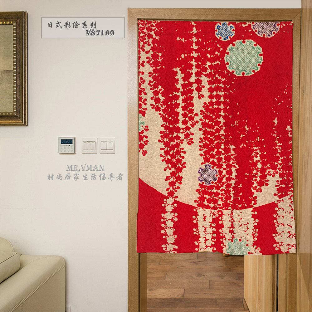 nice curtains japan style color drawing flowers pattern red door curtain polyesster mouldproof home decorative partition - Patterned Curtains