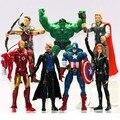 7 pçs/lote super hero avengers action figure collectible modelo brinquedos capitão américa, homem de ferro, Raytheon, Decoração boneca 15 cm