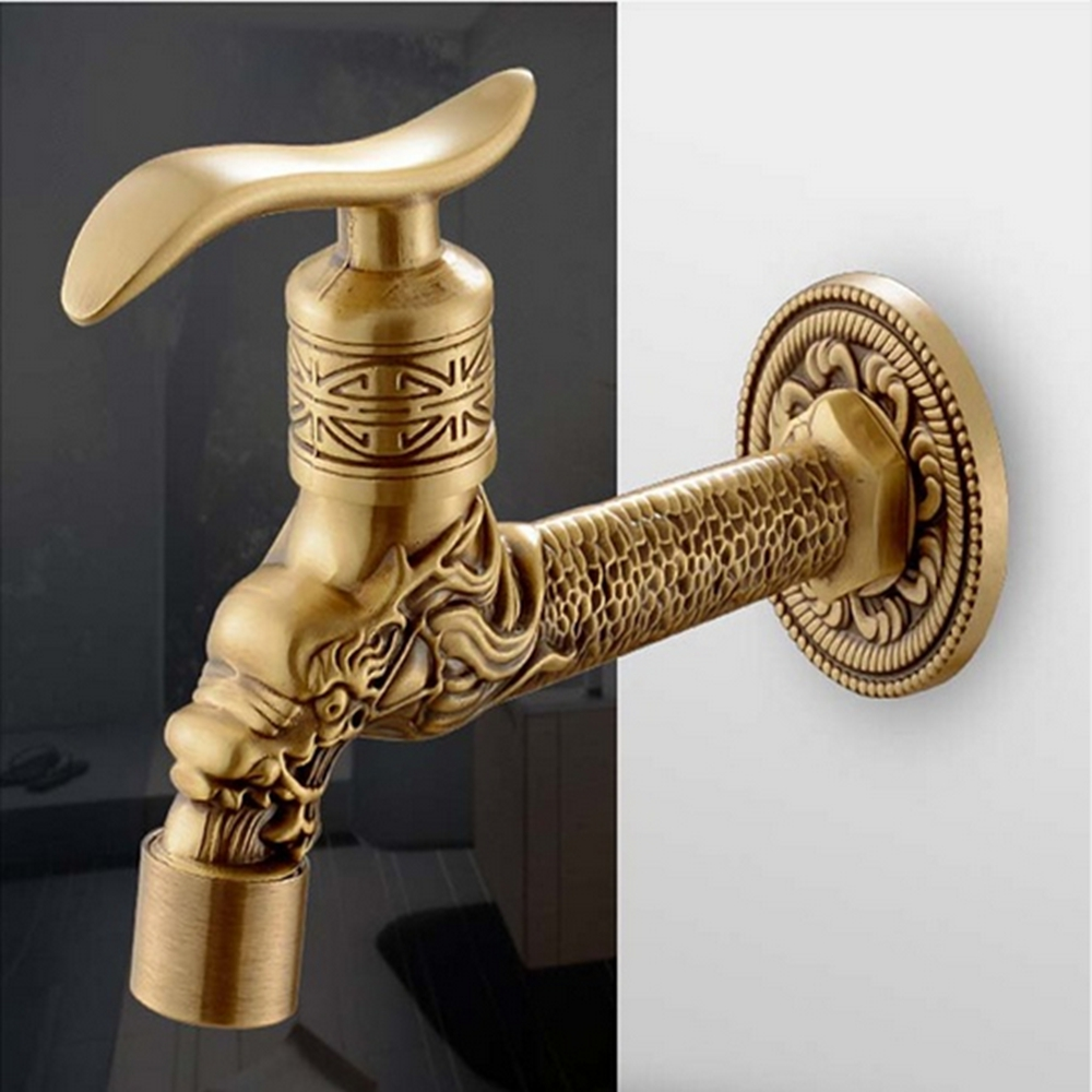 Free Shipping Wall Mounted Antique Brass Solid Brass Bathroom Washing Machine Faucet Single Handle luxuary bathroom faucet antique brass two handle wall mounted 550f 00