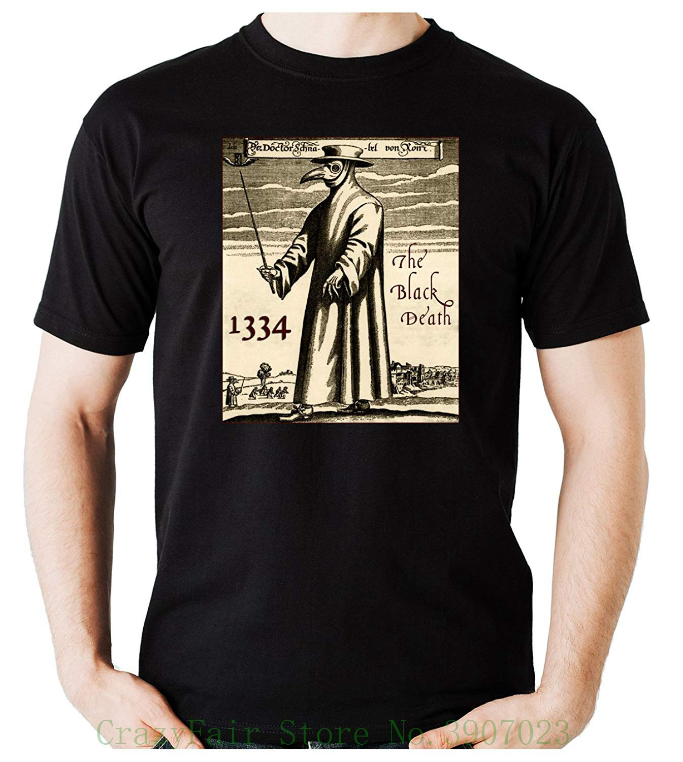 1f244dab9fd The Black Death Plague Doctor T-shirt Bird Mask Occult Clothing 100% Cotton  Brand