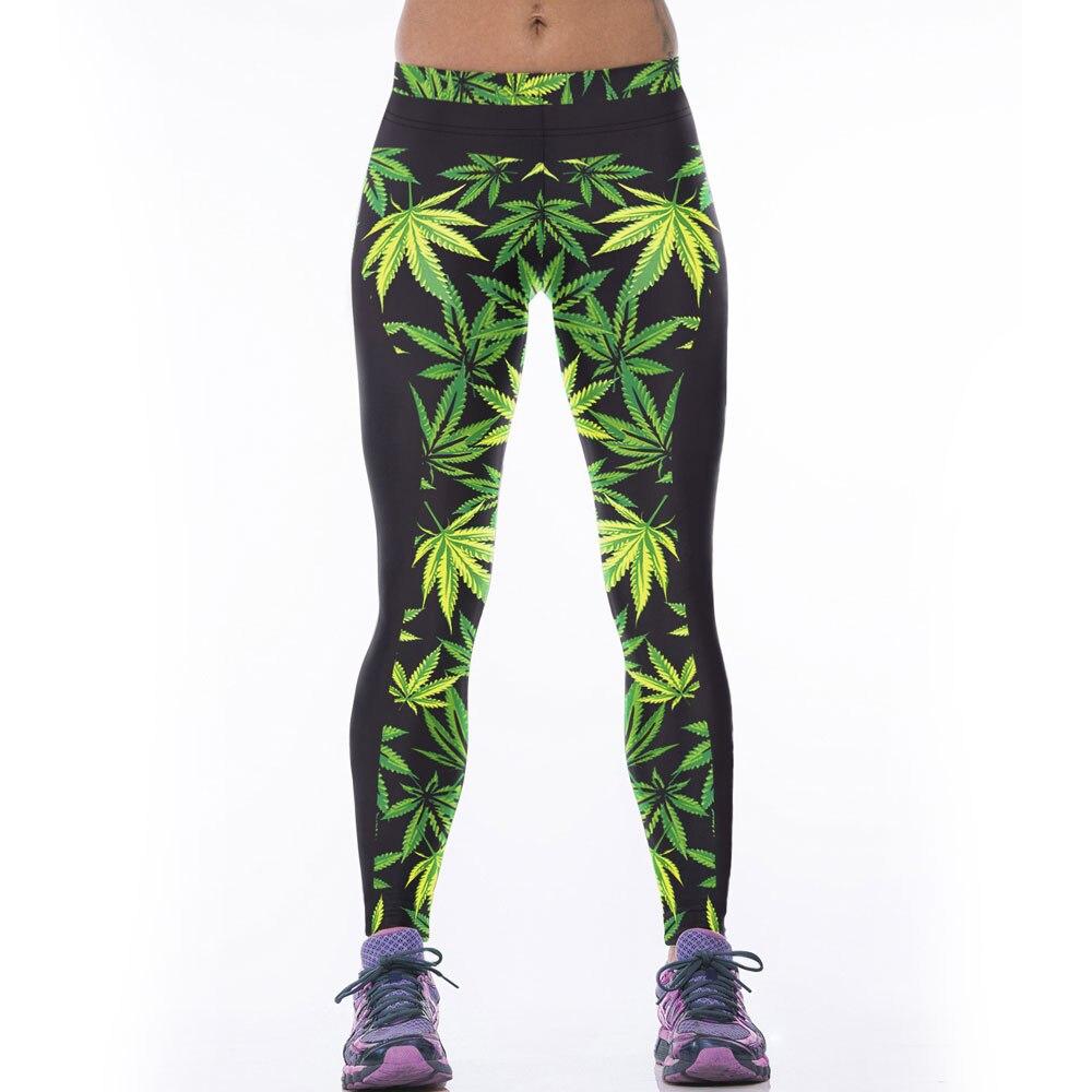 2016 Trend High Elastic Women Leggings Exercise Pants Digital Print Leaf Leaves Weeds Fitness Leggins Ropa Mujer Clothes