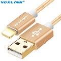 Voxlink nylon cable usb original para iphone 6 6 s plus 5 5S ipad 4 aire 2 cables del cargador del teléfono móvil con el oro plateado