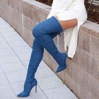 Новые джинсовые темно синие сапоги до бедра с шаговым швом ковбойские сапоги с острым носком на молнии женские пикантные вечерние модельны